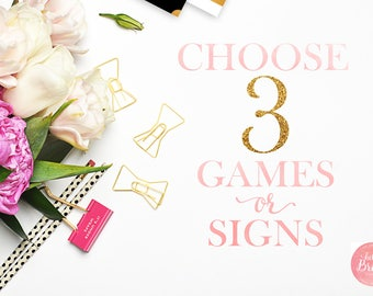 Choose 3 Games or Signs from Hello Bride Paperie