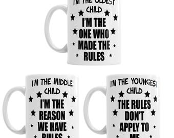 Youngest Middle Oldest Brother Sister Child Rules Funny Mug Gift Tea Coffee Cup