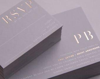 Foil Letterpress Wedding Invitation Suite (SAMPLE) - Minimalist Design