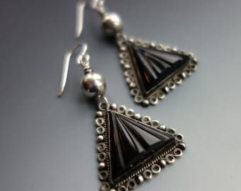 Mexican Carved Onyx Sterling Earrings Hallmarked Guad