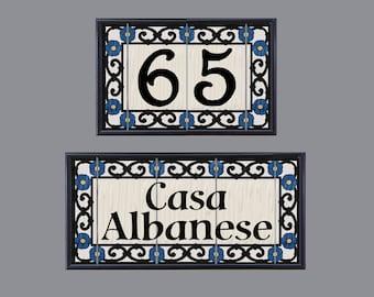 CUSTOM LISTING For KATIE - 2 Framed Address Tile -House Number Sets - Iron Flower Design