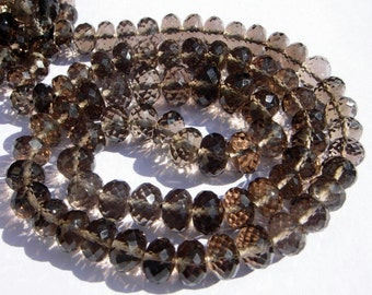 Full 16 Inches - Finest Quality Genuine AAA Smoky Quartz Micro Faceted Rondelles Large Size 7 - 9mm approx