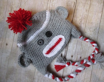 Baby Sock Monkey Hat, Newborn Sock Monkey Hat, Sock Monkey Hat, Baby Monkey Hat, Newborn Monkey Hat, Monkey Baby Hat, Monkey Photo Prop