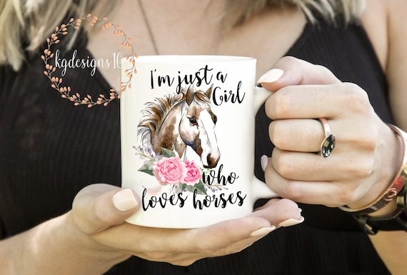 Just A Girl Who Loves Horses-Watercolor Horses-Love Horses Mug-Friendship Gift-Dishwasher Safe Mug-Vinyl Decal-Coffee Cup-Mug