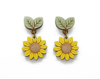 Sunflower drop stud earrings - hand painted laser cut flower earrings