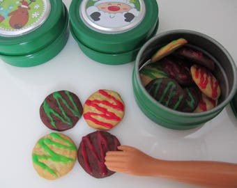 1:6 scale Asst. Christmas cookies  for Barbie, Ginny, Fashion Royalty, Blythe, or Momoko, Tyler, Poppy Parker