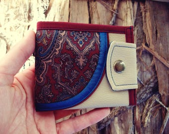 Curve, Vintage Fabric, Limited Edition, Handmade Personalized Wallet, Vegan Friendly, Vegan Leather Wallet, UNUSUAL