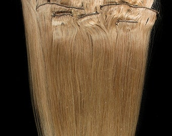 18 inches 7pcs Clip In Human Hair Extensions 18 Dark Blonde