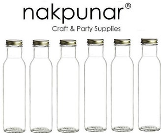 Nakpunar 6 pcs 8 oz 250 ml Wide Mouth Empty Glass Bottles with Black Plastic or Gold Metal Cap ( Square Bottom)