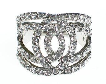 Vintage Art Deco Inspired Wide Swirled Band Pave Cubic Statement Ring