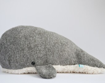 Sperm Whale Plush Heathered Grey Furry Belly Large *Personalize it!