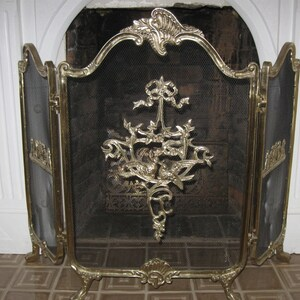 antique fireplace screen. vintage tri fold french style brass aviary love bird fireplace screen. antique screen