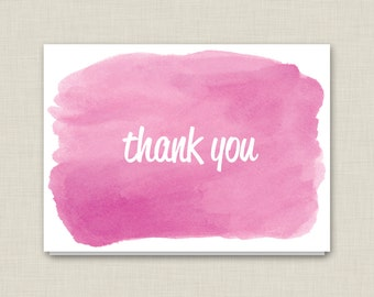 Pink Watercolor Thank You Cards / Boxed Set