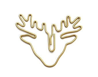 Set of 2 gold deer shaped paperclips / planner clips / christmas paperclips
