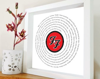Foo Fighters - Everlong framed song lyrics – Framed print in black or white box frame - Gift for him - Gift for her - Father's Day  - Music