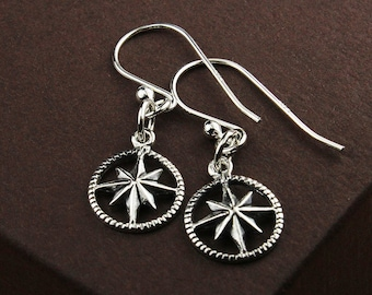 Silver compass earrings compass jewelry silver compass jewelry compass earrings compass charm nautical star compass starburst compass charm