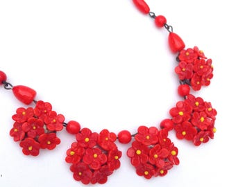 Red Floral and Beaded Glass Vintage Handmade Necklace, 1950s Fabulous for Fall!