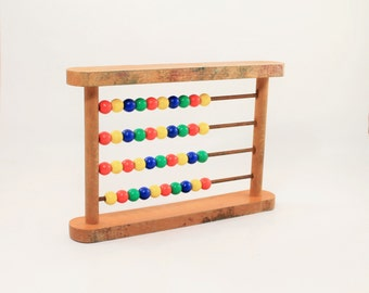 Vintage Wooden Robotoy wooden counting frame, Color bead counting toy, Counting Board