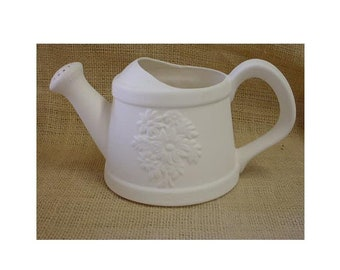 Watering can in bisque can be used as vase or planter when finished with glaze.