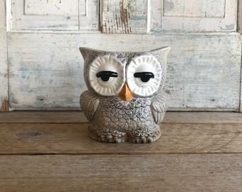 Charming Vintage Ceramic Owl Planter or Vase