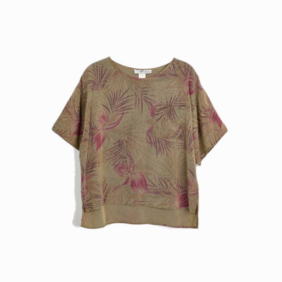 Vintage 90s Oversized Boxy Blouse in Tropical Print Brown & Rose - women's small