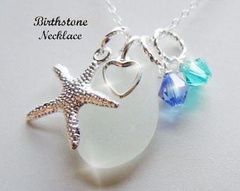 Birthstone Necklace Sea Glass Necklace Personalized Seaglass Jewelry Swarovski Crystal Beach Glass Necklace