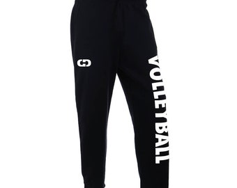 Volleyball Logo Sweatpants, Black - 6 Logo Colors, Free Shipping! Great Volleyball Gift!