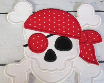 Pirate Skull  - Iron On or Sew On Embroidered Custom Made Applique