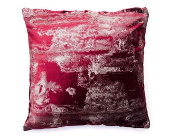 Metallic Maroon Velvet Pillow Cover, 18 x 18 Pillow, Decorative Pillow, Velvet Pillow, Accent Pillow, Throw Pillow