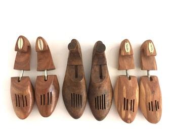 Vintage Wooden Shoe Trees Stretchers Cottage Home Decor