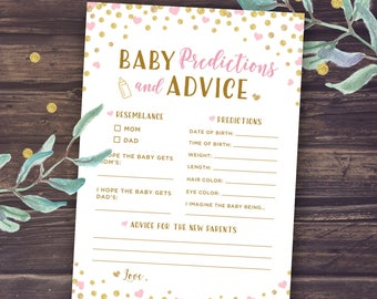Pink Baby Prediction Cards, and Baby Advice, Pink and Gold Themed Baby Shower Games, Printable PDF, Glitter hearts, Baby Shower Games Girl