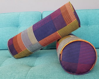 IN STOCK Ships Next Day. Set of 2 Mid Century Bolster Pillows -Set of 2- Geometrical