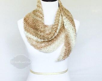 Cream and Gold Boho Crochet Scarf, Beige Triangle Scarf, Tan Shoulder Wrap, Crochet Boomerang Shawl, Beige Cowl, Beige Scarf, Striped Shawl