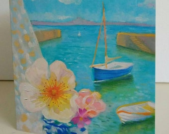 Greeting card from original painting Harbour View and Roses by Bee Skelton for any occasion birthday gift anniversary thank you