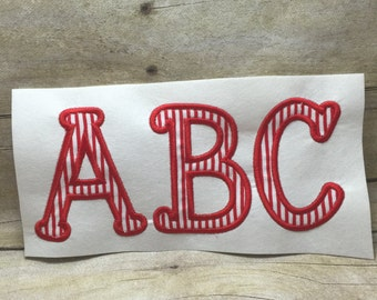 Applique Embroidery Font, Sticks On Sides Applique Font, Jonda Applique Font