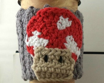 Crocheted Coffee or Ice Cream Cozy in Gray Cotton with Red, White, and Tan Mushroom Pocket with Green Button (SWG-F08)
