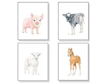 Farm Nursery Art Farm Animal Print Set of 4. Baby Animal Watercolor Baby Room Child Toddler Boy Girl Lamb Sheep Pig Horse Pony Cow Calf Art.