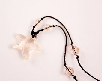 Starfish Crystal Silk Necklace, Chocolate Silk, Swarovski, Handmade