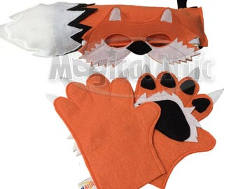Children's Woodland Animal Halloween FOX Felt Costume Set