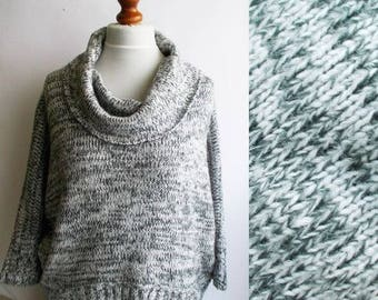 Vintage Thick Knit Sweater, Turtleneck sweater, Gray knitted sweater, turtleneck jumper, Thick knit turtleneck, Gray sweater, Size M
