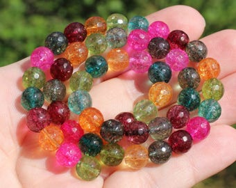 3 FACETED ROUND 8 MM MULTICOLOR TOURMALINE BEADS.