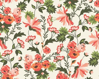 Peach Floral Fabric - Riley Blake Apricot and Persimmon Fabric - Orange and Green Floral Fabric