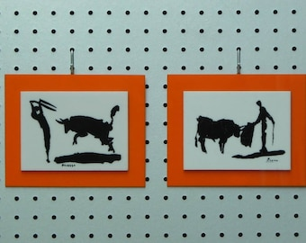 Pair Picasso Bullfight Prints Black on White with Orange Lucite