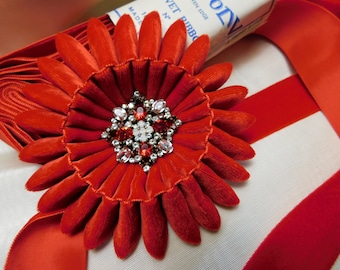 Scarlet Red Velvet Cocarde Cockade With Rhinestone Button