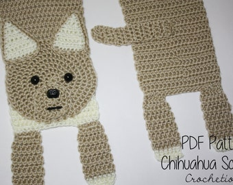 Crochet PATTERN - Chihuahua Scarf / Dog Breed Scarf, Puppy Scarf, Dog Scarf, Neck Warmer - PATTERN ONLY