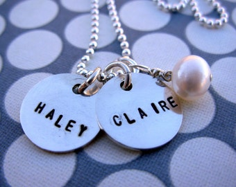 Sterling silver teeny tags necklace with charm