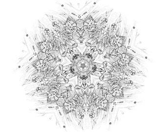 North Node - original mandala black and white giclee prints astrology signs star sky light