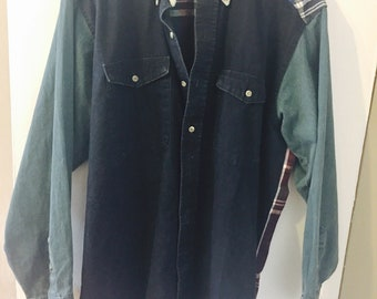 Vintage Wrangler Denim/Plaid Long Tails Shirt L