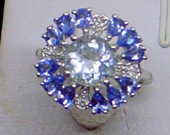 Sale Vintage Aquamarine Ring,Tanzanite Ring,Aquamarine And Tanzanite Ring,Sterling Silver,Size 6.5,12 Tanzanites,Gorgeous
