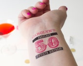 50th Birthday Tattoos, Fifty & Fabulous, 50 and Fabulous, 50th Birthday Party, Personalized Temporary Tattoos, Customized Party Favors
